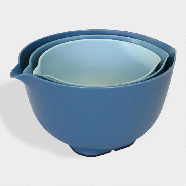 Blue Nesting Mixing Bowls with Lids 6 Piece