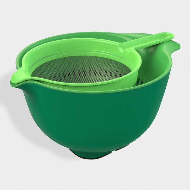 Green Nesting Mixing Bowl, Colander and Sieve