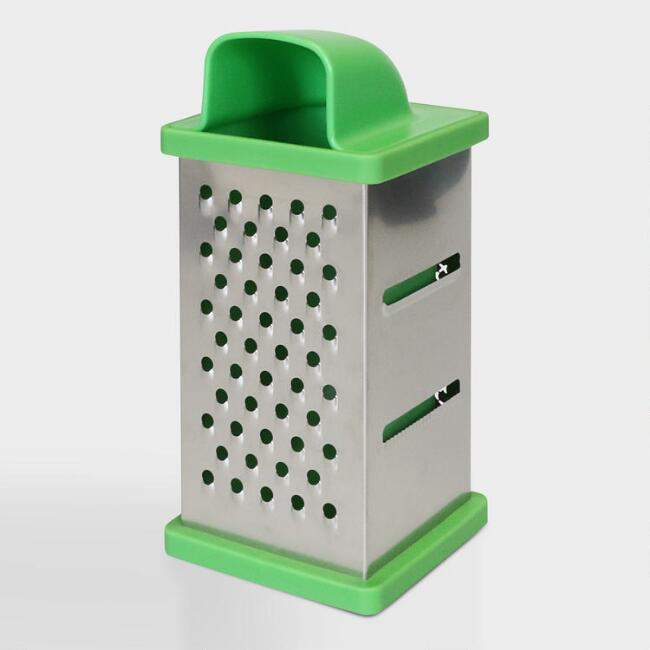 Green 4 Sided Stainless Steel Grater Box with Container