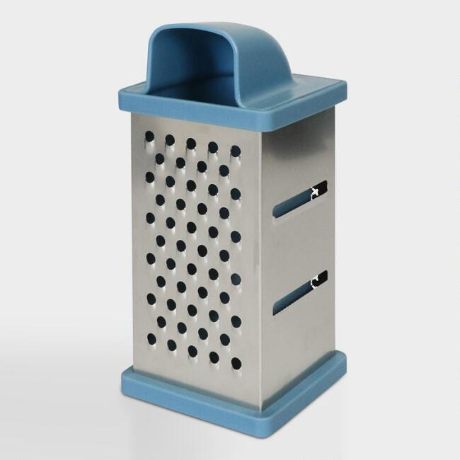 Blue 4 Sided Stainless Steel Grater Box with Container