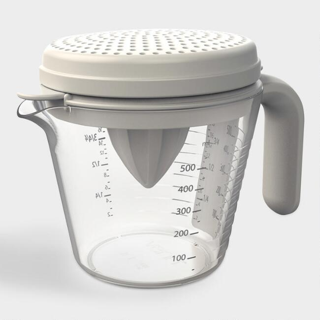 Gray Juicer, Separator and Strainer Measuring Cup Set