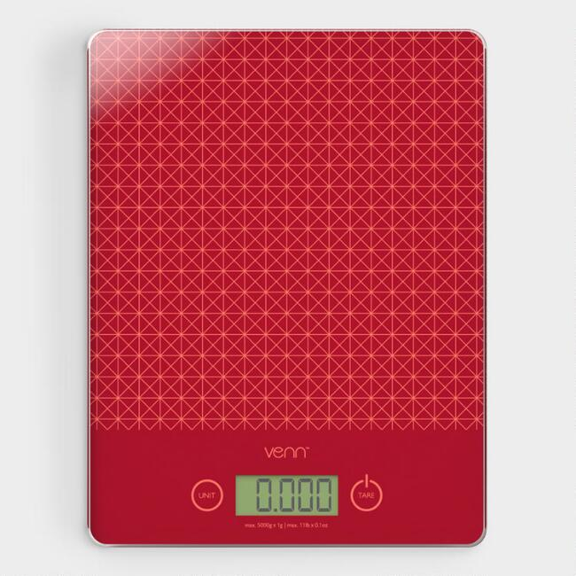 Red Digital Kitchen Scale with Integrated Scraper