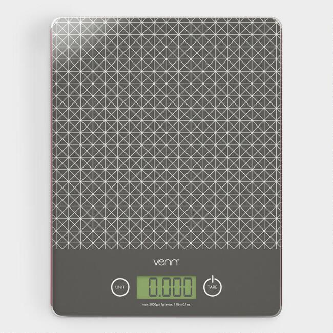 Gray Digital Kitchen Scale with Integrated Scraper