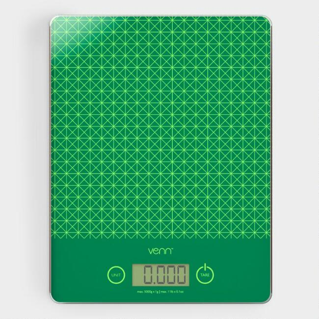 Green Digital Kitchen Scale with Integrated Scraper