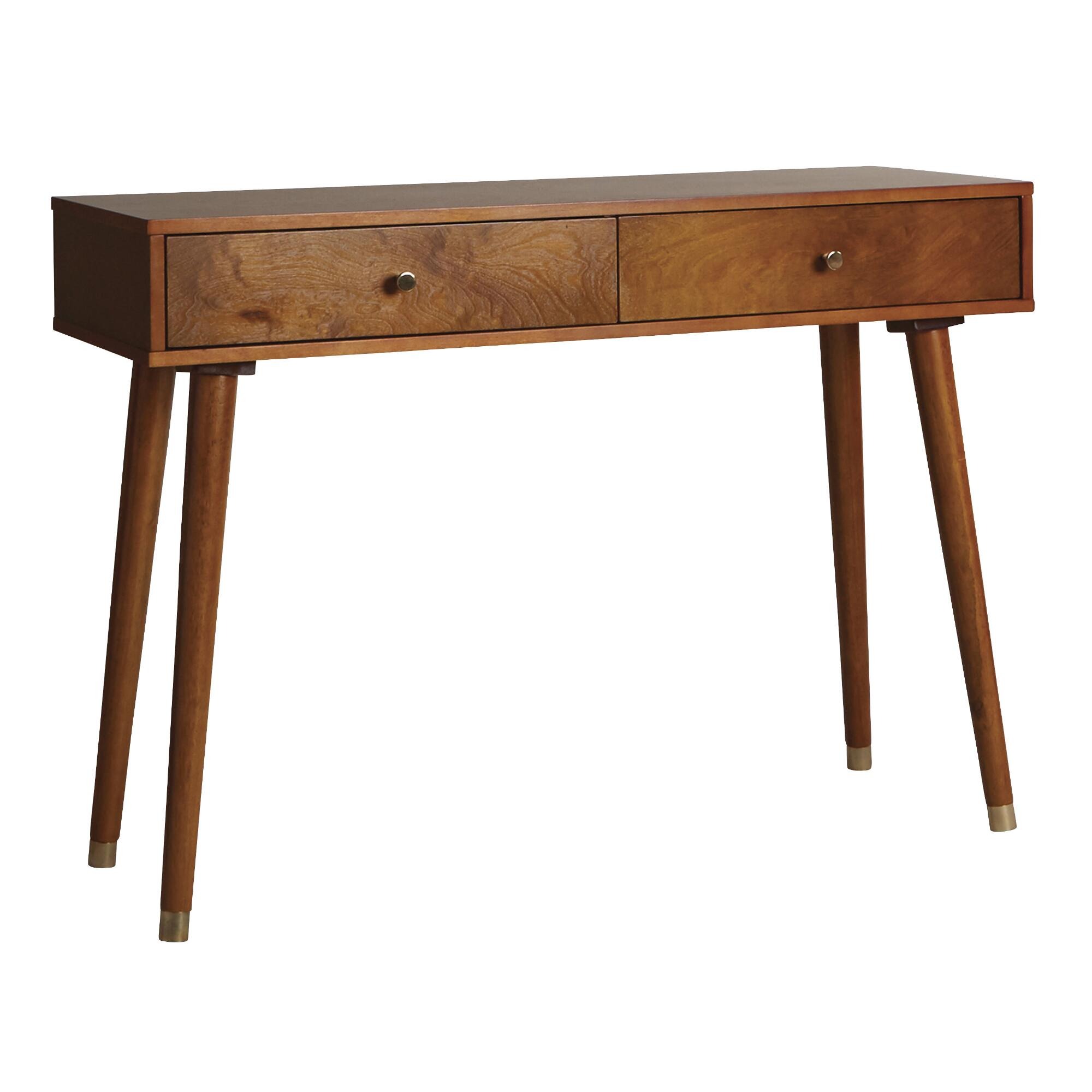 Wood console table world market light walnut wood caleb console table geotapseo Gallery