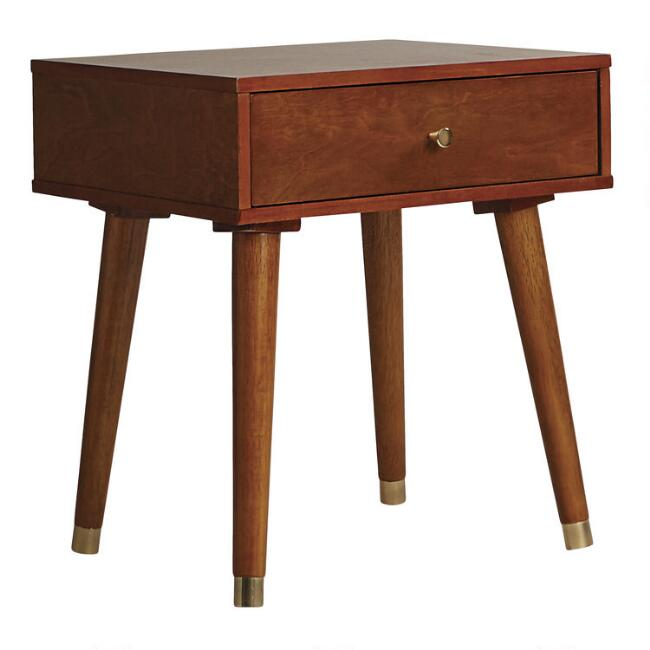 Light Walnut Wood Caleb Accent Table
