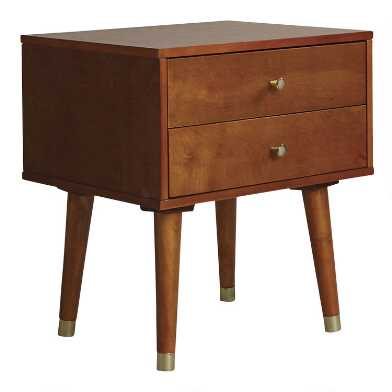 Light Walnut Wood Caleb Accent Table with 2 Drawers