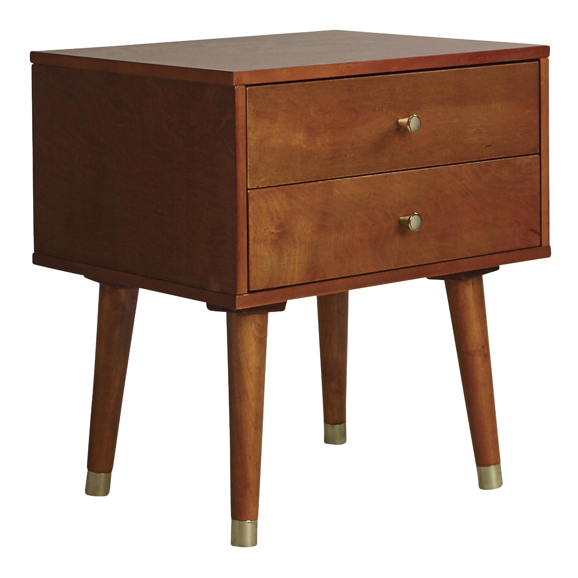End table with drawer - Light Walnut Wood Caleb 2 Drawer Accent Table