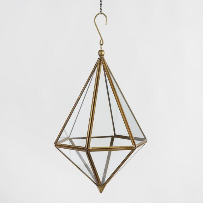 Antique Gold Hanging Teardrop Terrarium