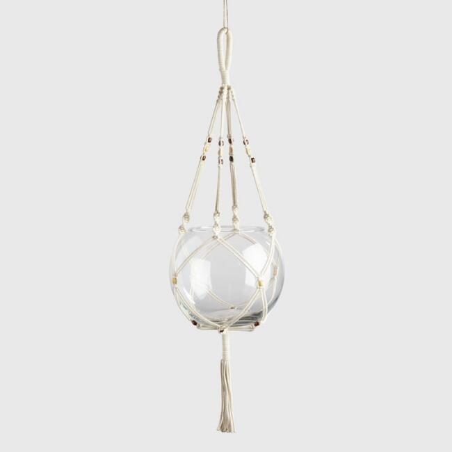 Natural and Dark Bead Macrame Plant Hanger and Bubble Vase
