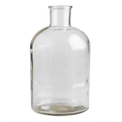 Wide Neck Clear Glass Vase