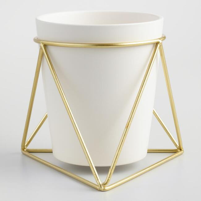 Gold Geometric Stand and White Vase