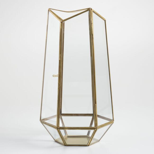 Tall Antique Brass Faceted Glass Terrarium