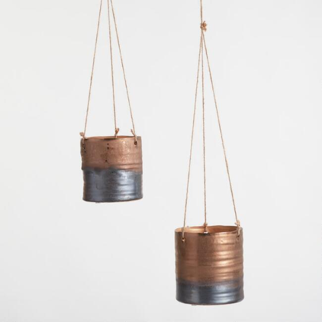 Copper and Silver Reactive Glaze Hanging Planter