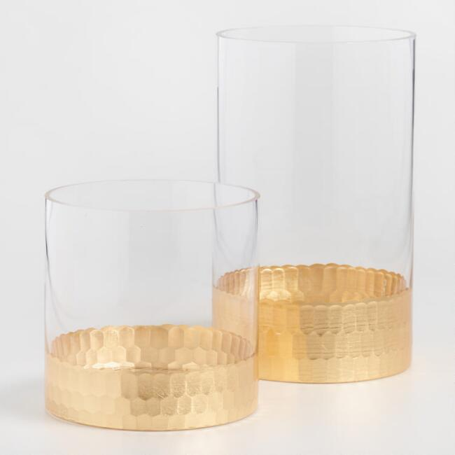 Gold Faceted Glass Vase