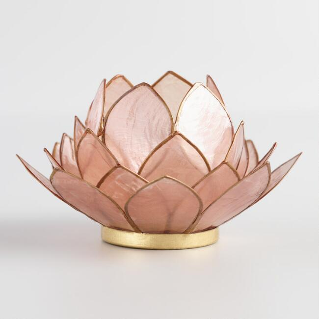 Blush Lotus Capiz Tealight Candleholder