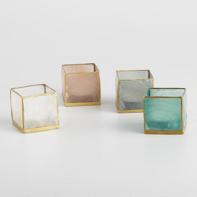 Square Capiz Tealight Candleholder Collection
