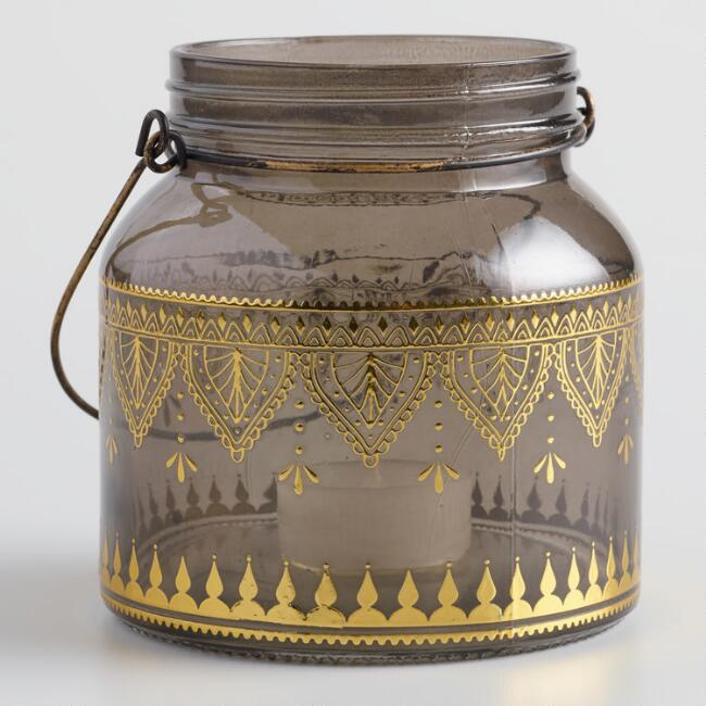 Gray Glass with Gold Detail Lantern Set of 2