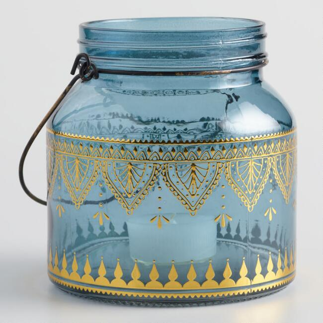 Blue Glass with Gold Detail Lantern Set of 2