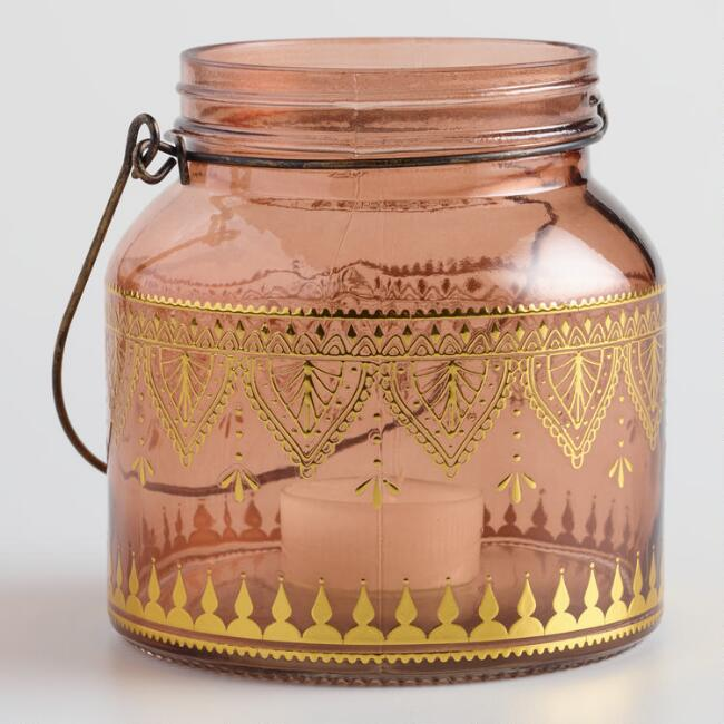 Pink Glass with Gold Detail Lantern Set of 2