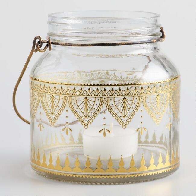Clear Glass with Gold Detail Lantern Set of 2