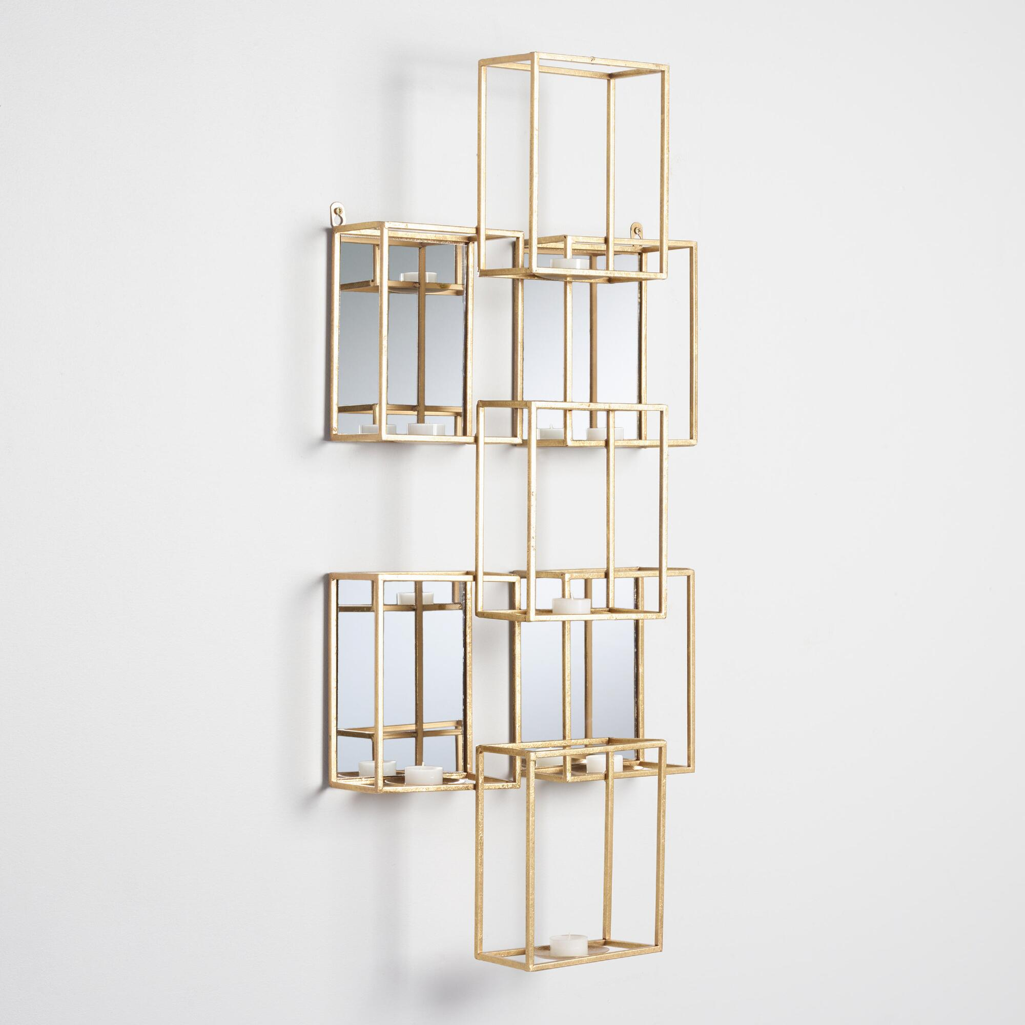 Wall sconces wall candle sconces world market gold square mirrored sconce amipublicfo Gallery