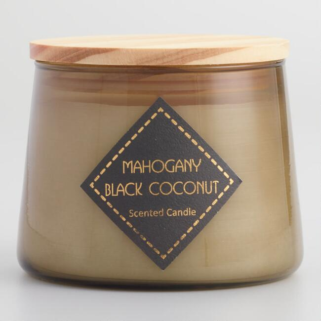 Mahogany Coconut Brown Filled Jar Candle