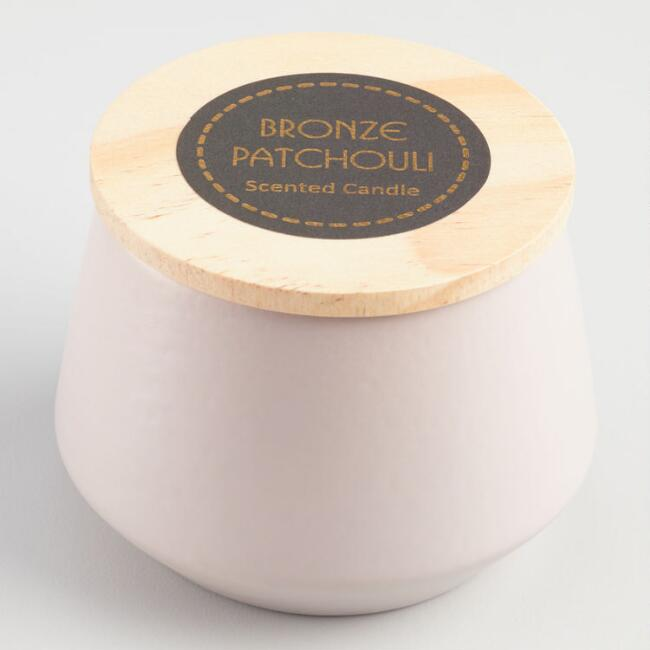 Bronze and Patchouli Filled Gray Ceramic Jar Candle