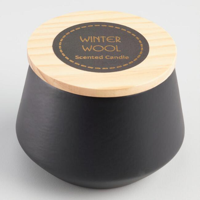 Winter Wool Filled Black Ceramic Jar Candle