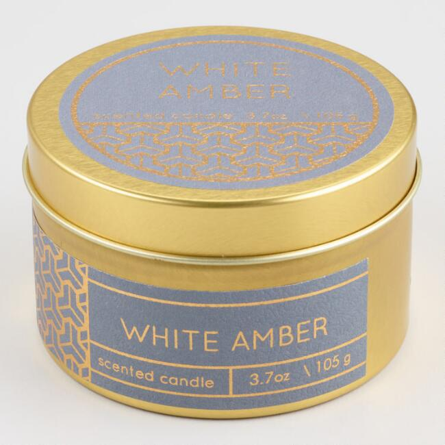 White Amber Filled Gold Travel Tin Candle