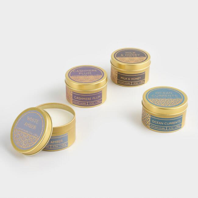 Scented Filled Gold Travel Tin Candle Collection