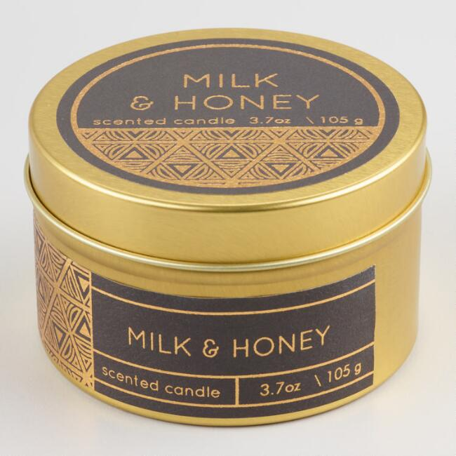 Milk and Honey Filled Gold Travel Tin Candle