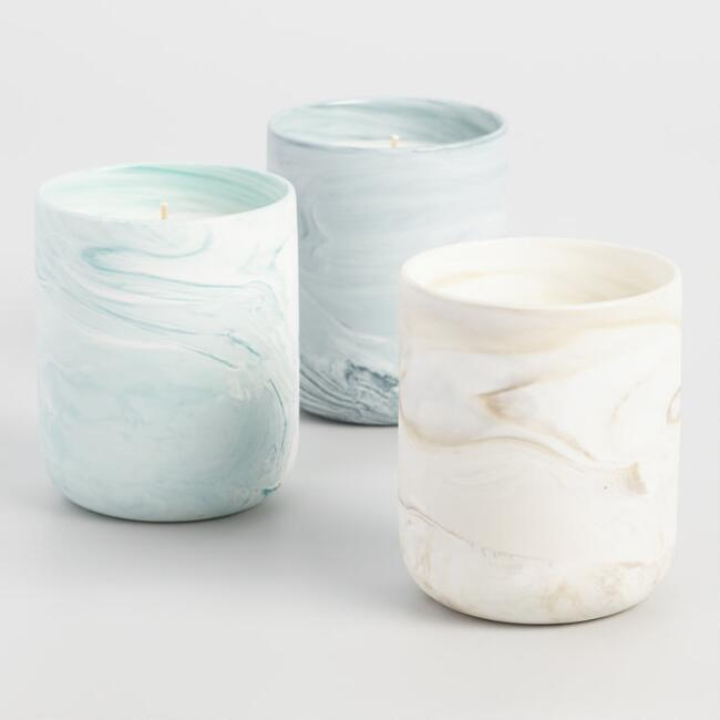 Marbled Glass Filled Jar Candle Collection