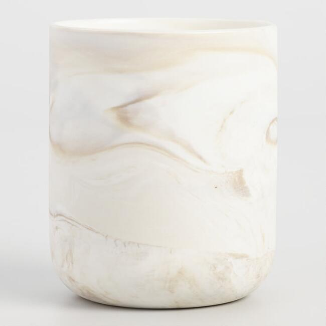 Small Taupe Marbled Glass Filled Jar Candle