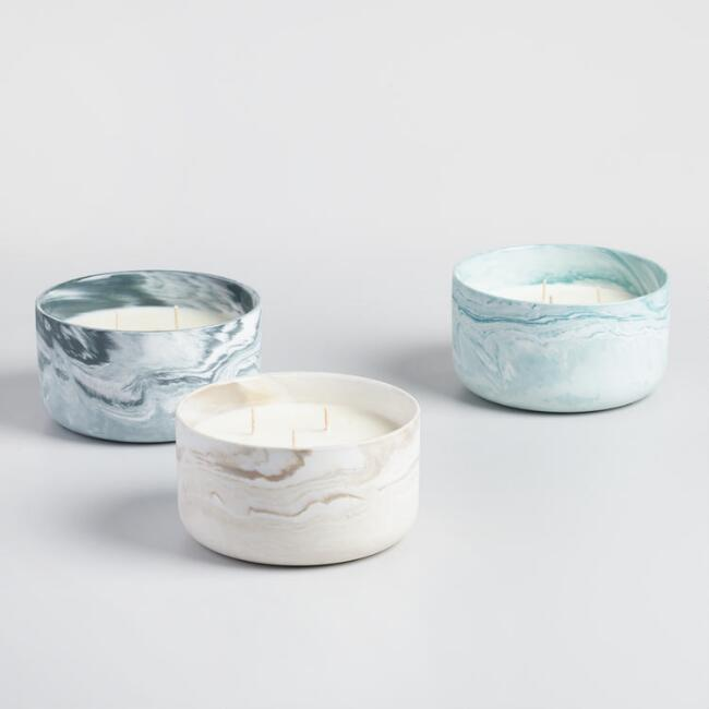Marbled Glass Three Wick Filled Jar Candle Collection
