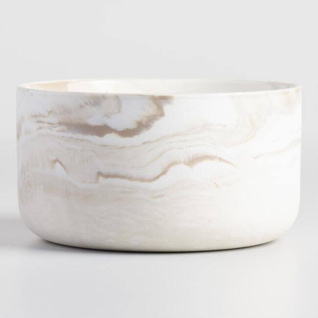Taupe Marbled Glass Three Wick Filled Jar Candle