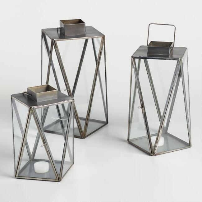 Antique Zinc Geometric Cargo Lantern