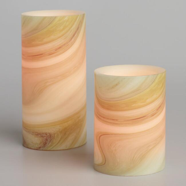 Taupe Marble Flameless LED Pillar Candle
