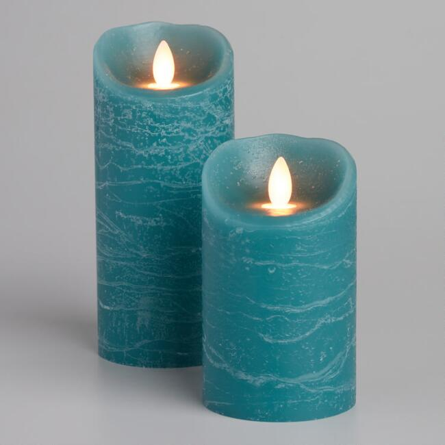 Rustic Turquoise IFlicker Flameless LED Candle