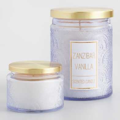 Zanzibar Vanilla Filled Embossed Filled Jar Candle