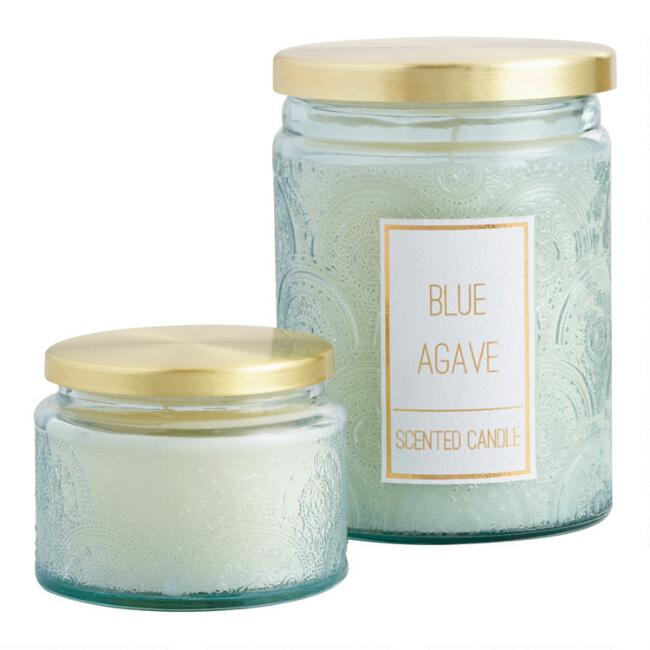 Blue Agave Embossed Glass Scented Candle