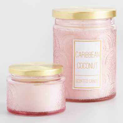 Caribbean Coconut Embossed Filled Jar Candle