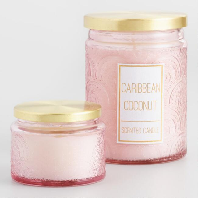 Caribbean Coconut Embossed Glass Scented Candle