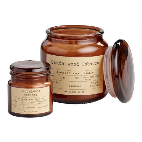 1a9966fafa Sandalwood and Tobacco Filled Apothecary Jar Candle