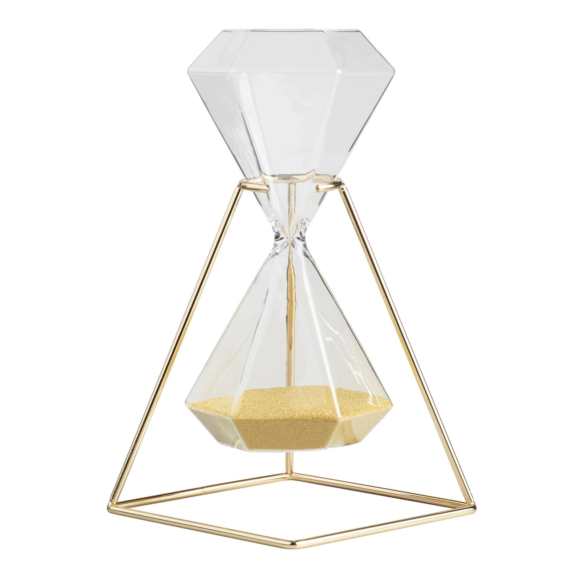 Hexagonal Hourglass with Gold Stand - Metal by World Market