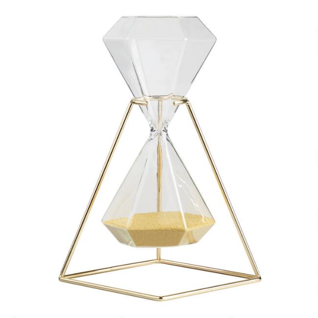 Hexagonal Hourglass with Gold Stand