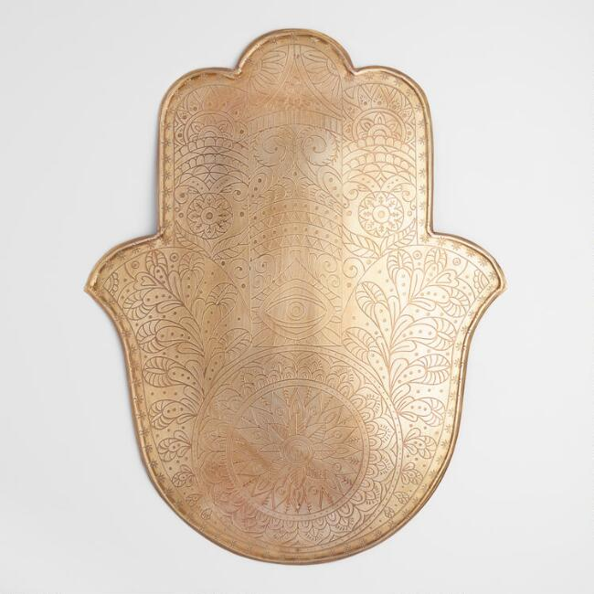 Large Etched Metal Hamsa Wall Decor