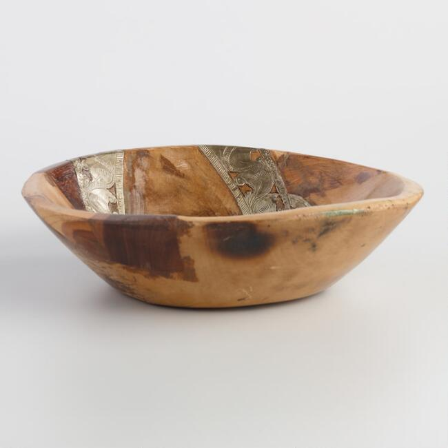 Wood Parat Bowl with Metal Inlay