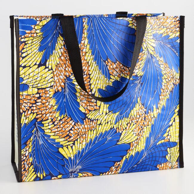 African Wax Print Wide Tote Bag
