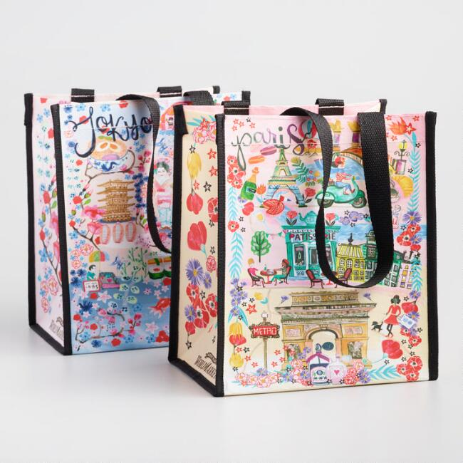 Paris and Tokyo Scenes Small Tote Bags Set of 2